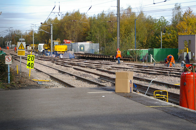 Track replacement at Barnt Green Station