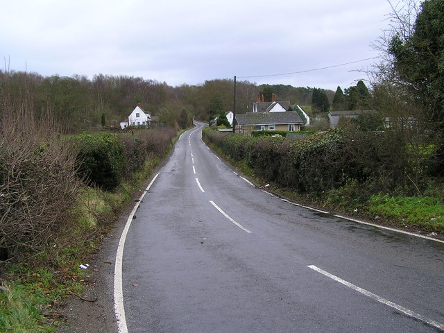 Brocton Gate Farm and road to Bednall Belt Plantation