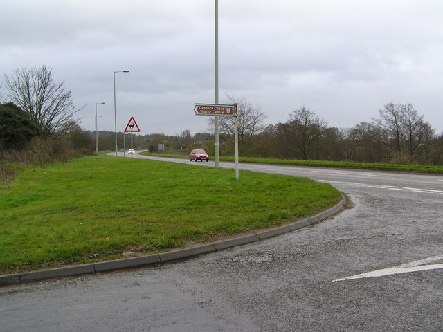 Road into Cannock Chase as  it leaves A34 at Brocton