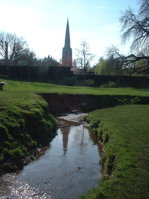 A view of Gedling Church from Ouse Dyke