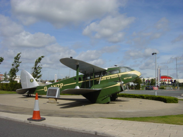 Replica of historic aircraft displayed outside Marriott Hotel