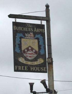 Butchers Arms, pub sign.