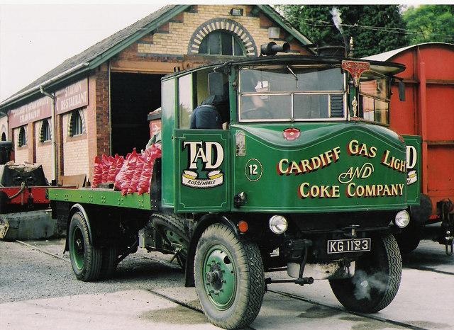 Steam road vehicle at Haverthwaite yard