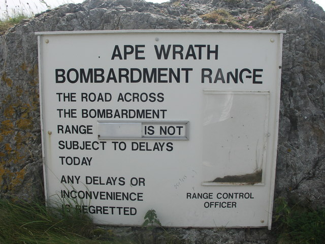 Cape Wrath Bombardment Range Warning Notice