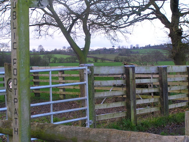 Public footpath stile on Thorneyfields Lane