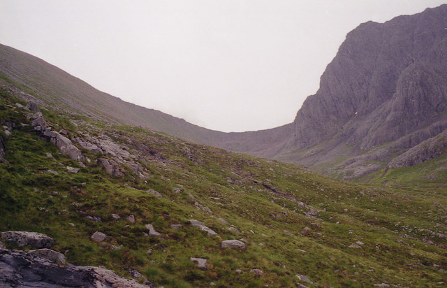 Headwall of Coire Leis with Ben Nevis on right