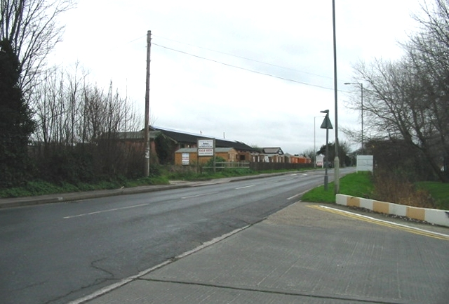 Junction of factory exit and the Sandwich road.