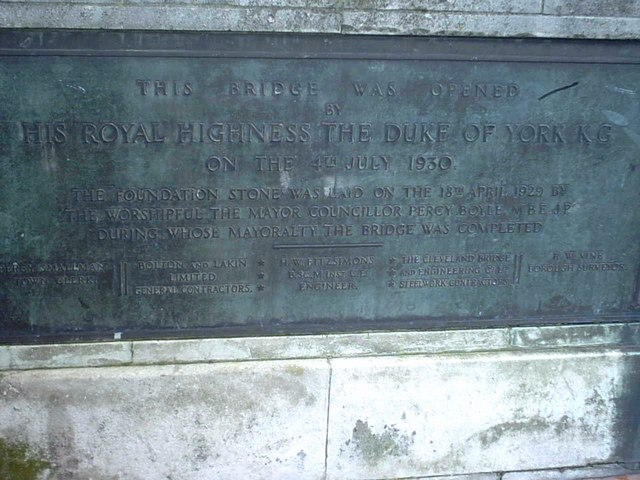 Plaque for the opening of  town bridge   Weymouth