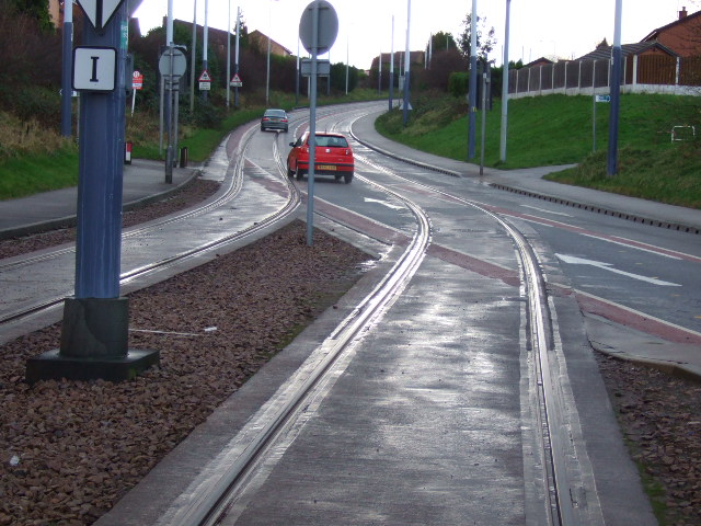 Tram and road intersection