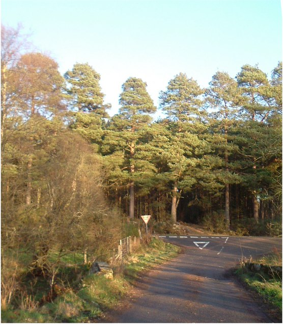 Minor road junction east of Lochton of Leys