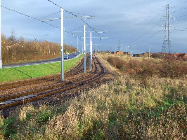 Tramlines,road and pylons