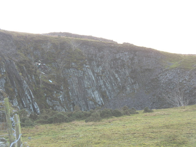 The upper backwall of Bwlch-y-groes Quarry