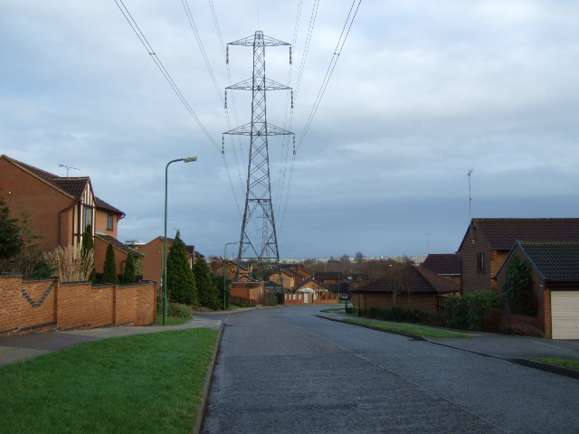 Pylons over  the estate.