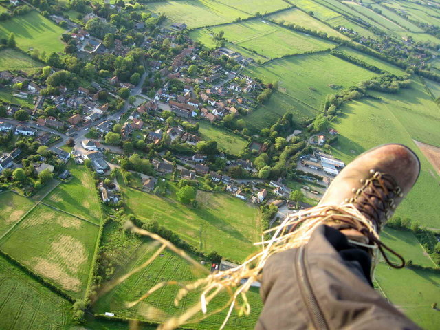 Aerial view from Paramotor of Letcombe Bassett