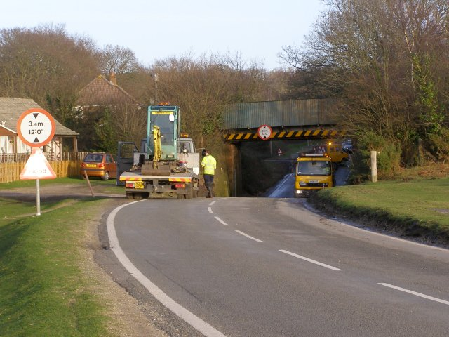 Cleaning up after the flood, Lymington Junction, New Forest
