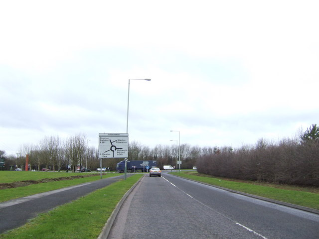 Approaching Supermarine roundabout from the east