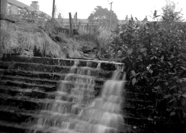Weir near Hugh Mill, Waterfoot, Lancashire: 1949