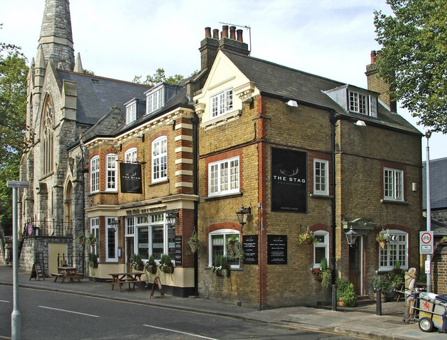 The Stag Public House with Trinity Church on the left