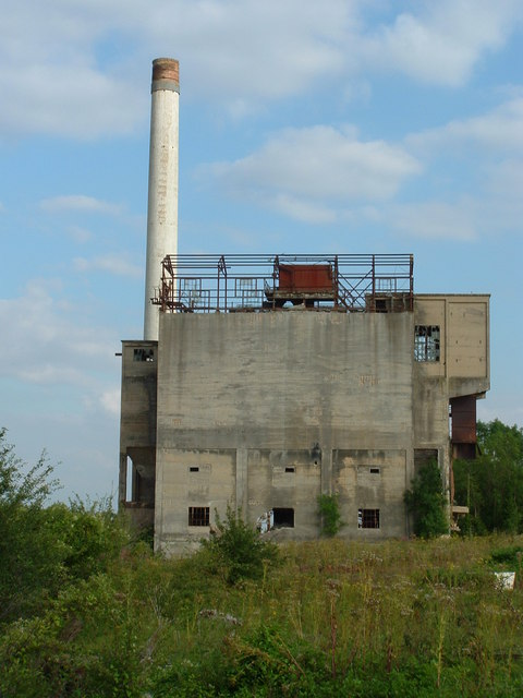 "Disused Blue Circle Cement Works with chimney ""Smokey Joe"""