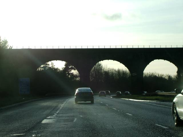 Railway viaduct over A80 at Castlecary, North Lanarkshire