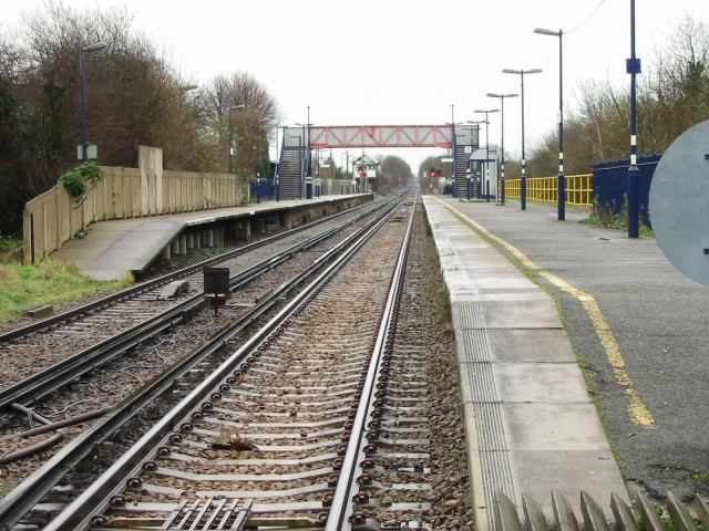 Minster railway station, looking E from level crossing.