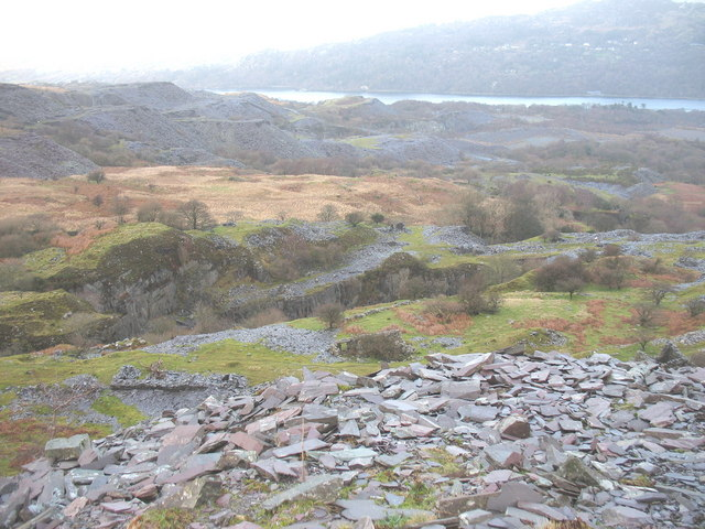 The Glynrhonwy Quarries from Bwlch-y-groes Quarry