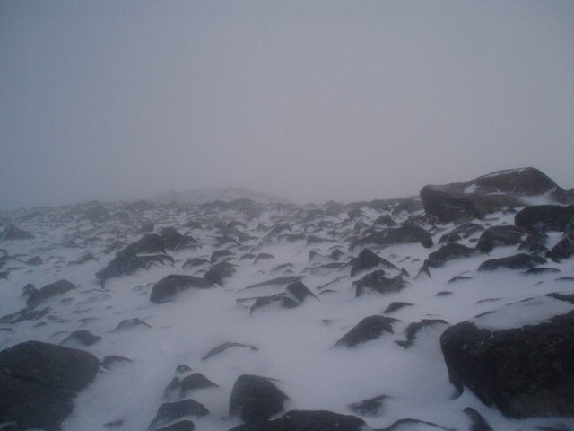 Boulder field approaching the summit