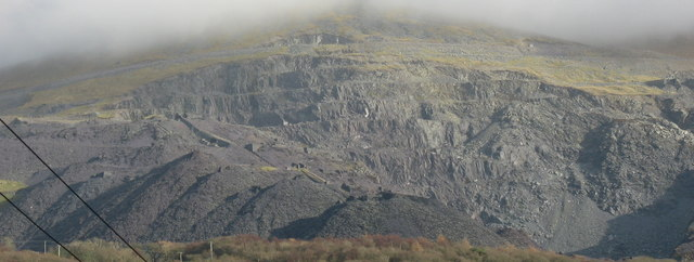 The upper half of Dinorwig Quarry from Llanberis