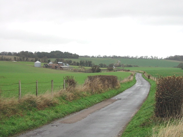 View of Kittington Farm and surrounding fields from the south