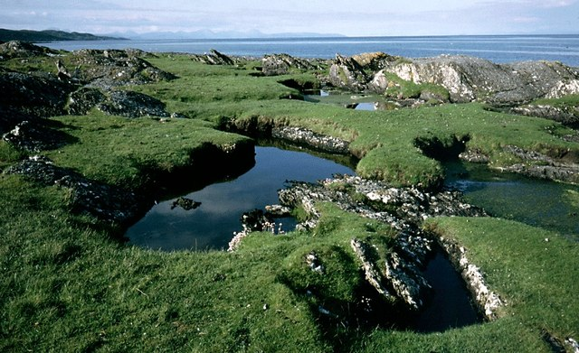 Saline pools on the Colonsay coast south of Rubha Dubh