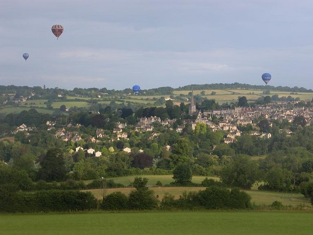Hot air balloons over Painswick, from Longridge