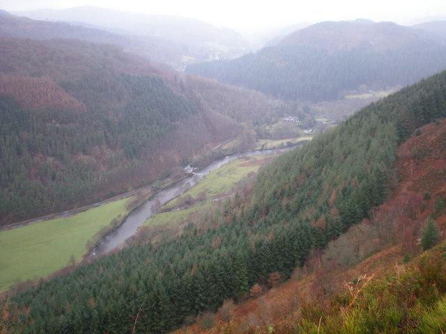 View down valley towards Gelli Gemlyn.