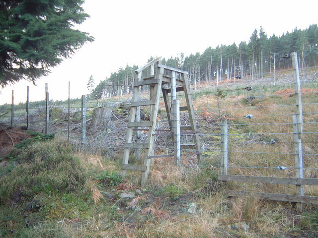 Stile over deer fence