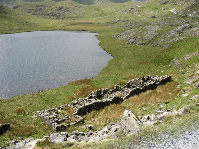 Ruined miners' barracks on the shore of Llyn Teyrn