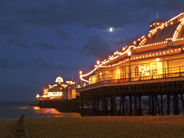 Eastbourne Pier, East Sussex, at dusk