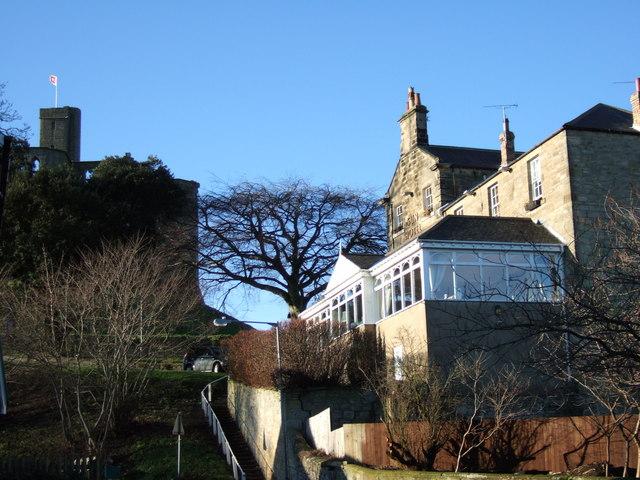 Sun Hotel and Warkworth Castle keep