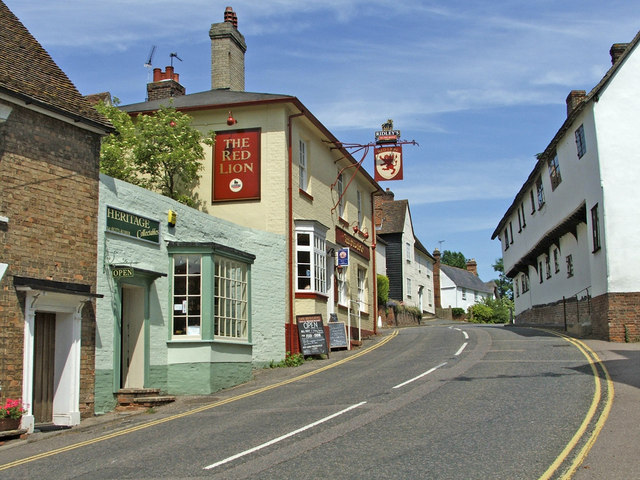 Finchingfield Village, Essex, with Red Lion Pub on left