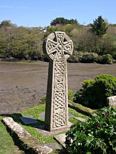 Celtic Cross in St Just in Roseland Churchyard