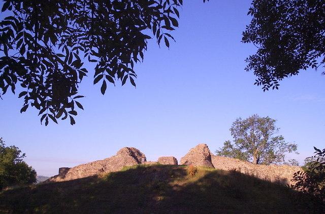 Dolforwyn Castle at sunrise