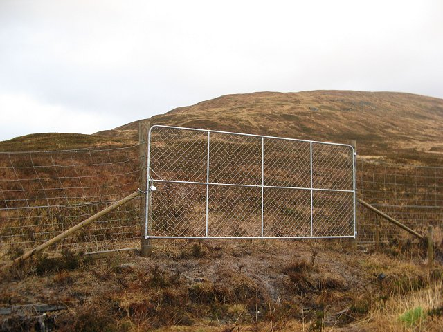 Forestry gate and Beinn Chraoibh