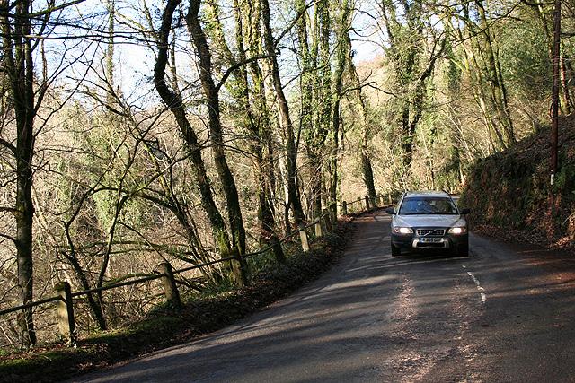 Dulverton: the B3223 in Looseall Wood