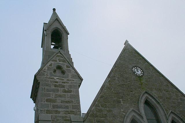Church tower  and clock at Barthol Chapel church.