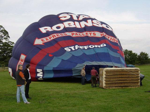 Hot air balloon being filled at Shugborough Hall
