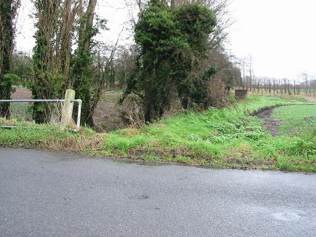 'Durlock Bridge' - small stream and field boundary, Durlock Road.