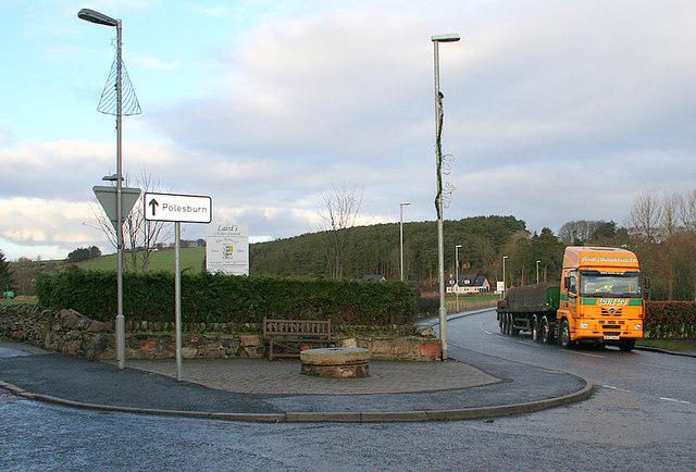 Lorry having crossed the bridge at Methlick.