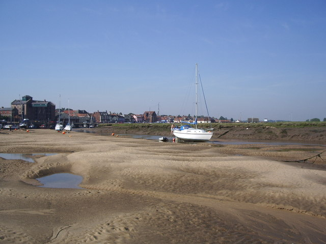 Wells next the Sea viewed from the Salt Marshes.