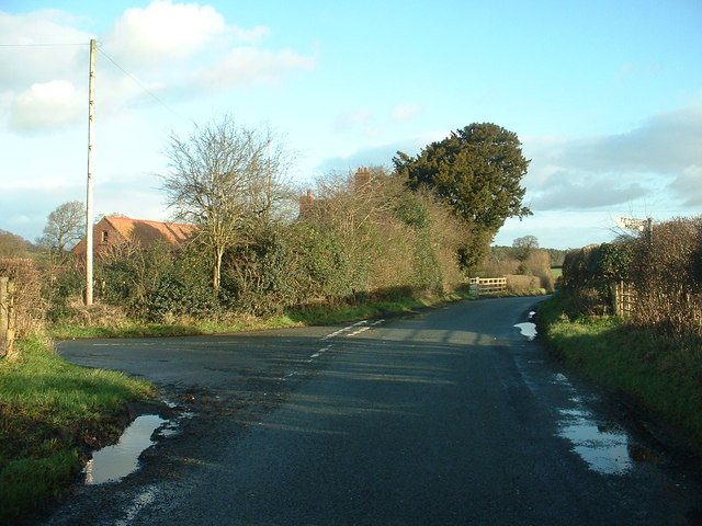 Road junction near The Outcast