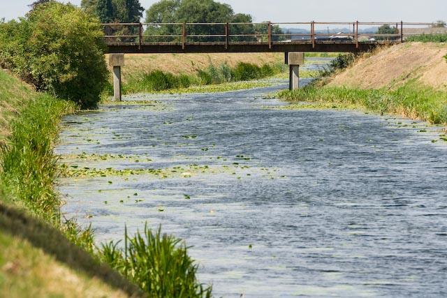 Green Hall farm bridge over the Middle Level waterways near Ramsey Cambridgeshire England, UK