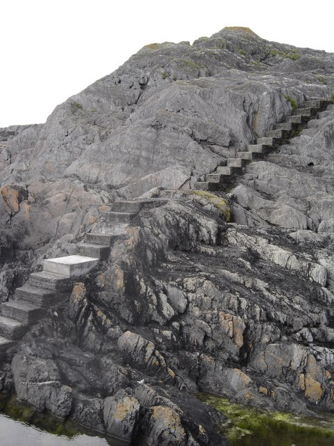 Stairs down to small Quay on Dunlough Bay