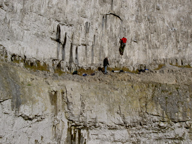 Climbers on the face of Malham Cove